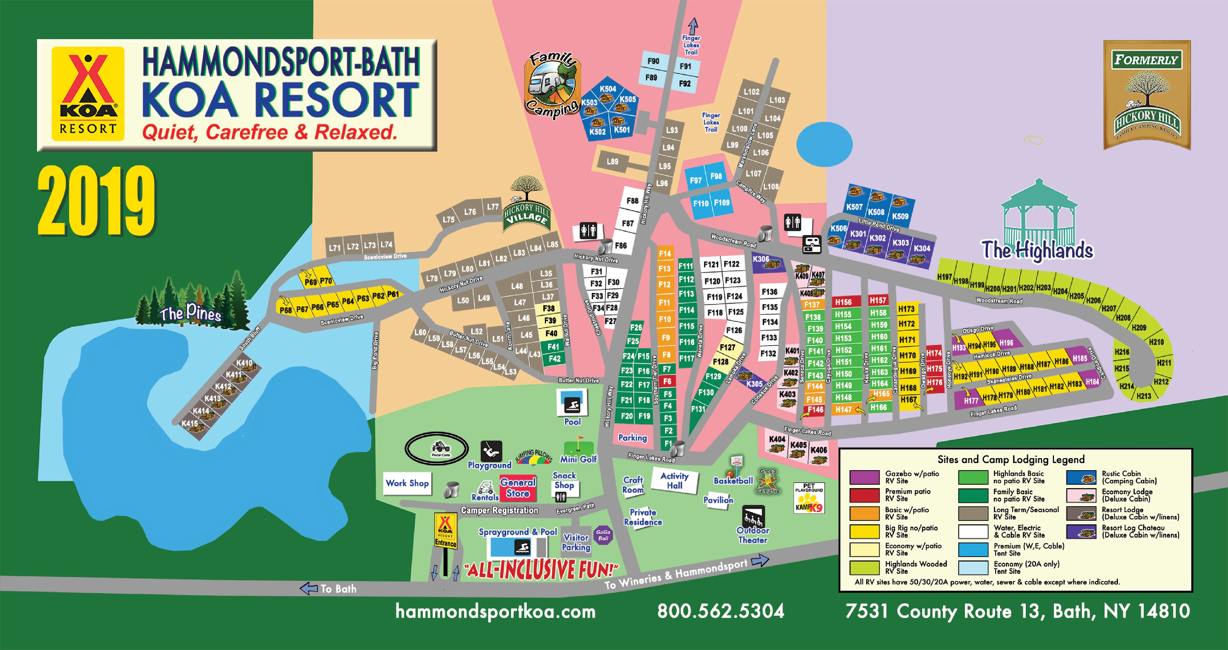 Hammondsport-Bath KOA Resort Map on route map, fll map, zip code map, coarsegold california map, slc map,